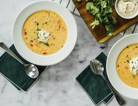 Creamy Corn Chowder With Cilantro Cream