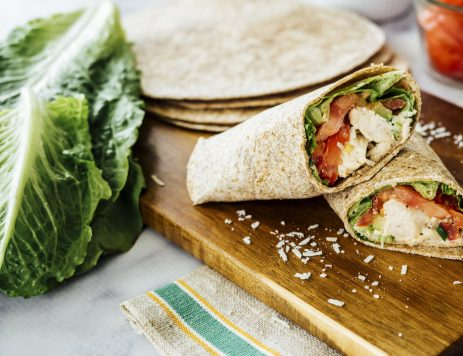 Grilled Caesar Chicken Salad Wraps
