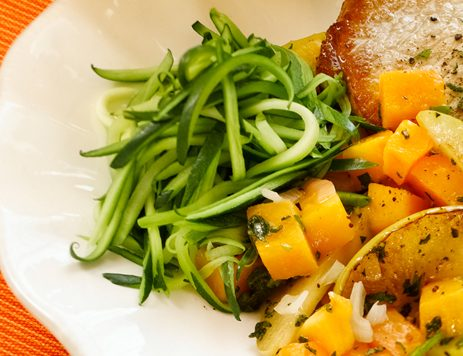 Butternut Squash and Apples With Pan Seared Pork Chop