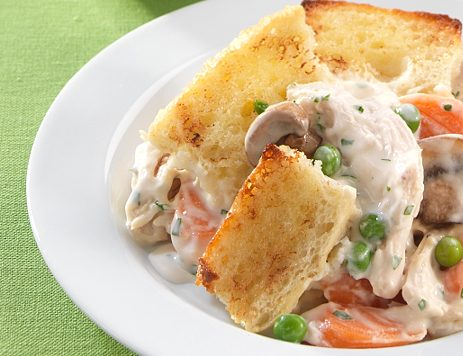 Chicken Pot Pie with Bread Topping
