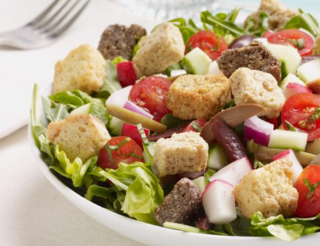 Chopped Italian Salad With Asiago Cheese Croutons