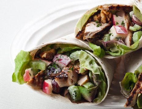 Grilled Chicken and Waldorf Salad Wraps