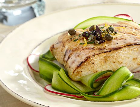 Grilled Halibut with Radish and Cucumber Salad