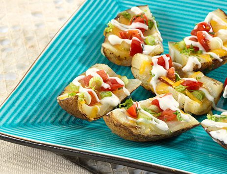 Grilled Potato Skins with Tomatoes and Scallions