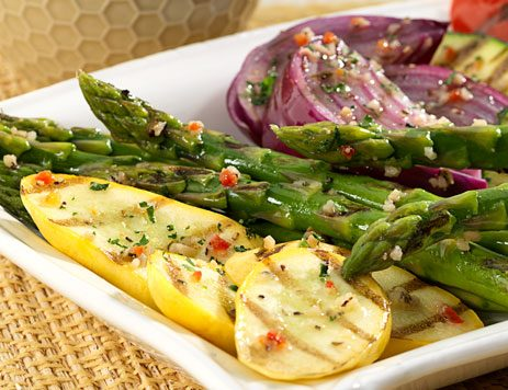 Grilled Vegetables with Fresh Herbs and Parmesan