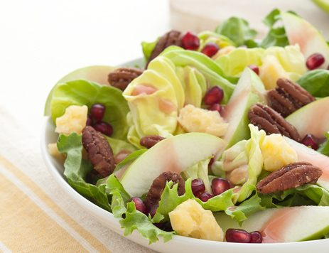 Mixed Greens with Toasted Pecans and Cheddar Cheese