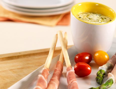 Pesto Ranch Dip With Prosciutto Breadsticks