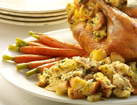 Roasted Chicken With Garlic Lemon Stuffing
