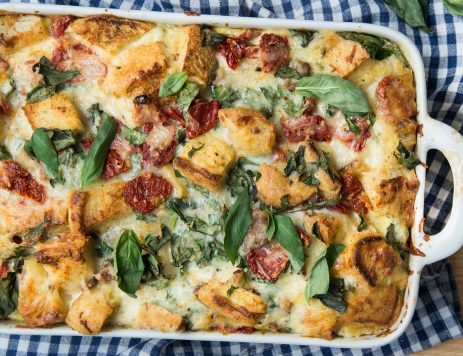 Mediterranean Bread Casserole With Sausage, Sun-Dried Tomatoes and Spinach