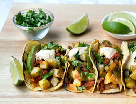 Mexican Sausage, Poblano Peppers and Potato Tacos