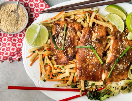 Soy-Honey-Sesame Glazed Salmon Over Noodles