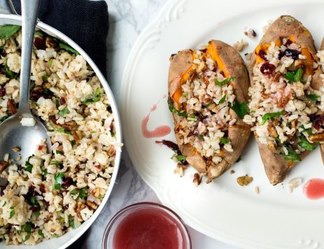 Whole Baked Sweet Potato Stuffed With Warm Rice Pilaf, Pecans and Dried Cranberries