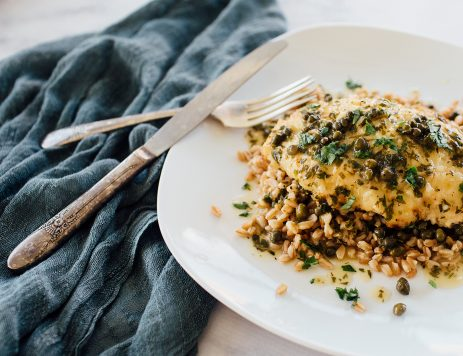 Chicken Piccata With Capers Over Farro