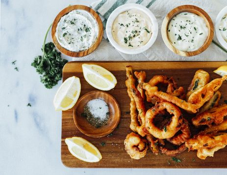 Beer-Battered Onion Rings and Veggies