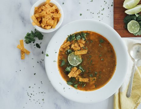 Spicy Black Bean Soup with Chili Lime Tortilla Strips