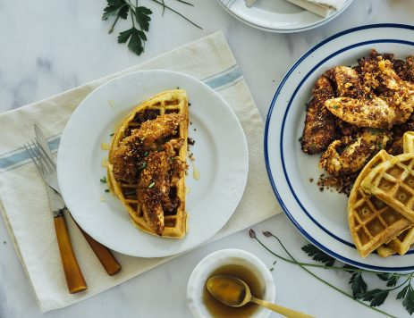 Chicken & Waffles with Spicy Honey Glaze
