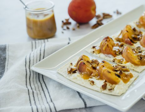 Grilled Peach and Caramel Dessert Pizza