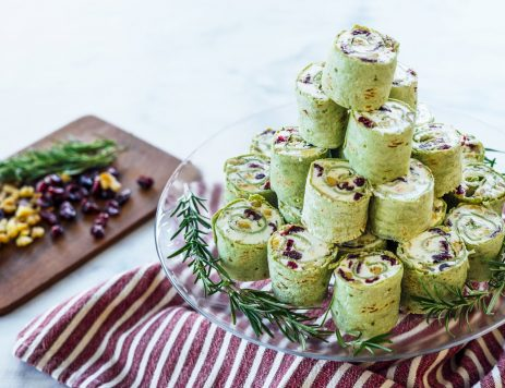 Cranberry and Goat Cheese Christmas Tree Pinwheels