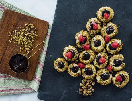 Pistachio Chocolate Thumbprint Cookies