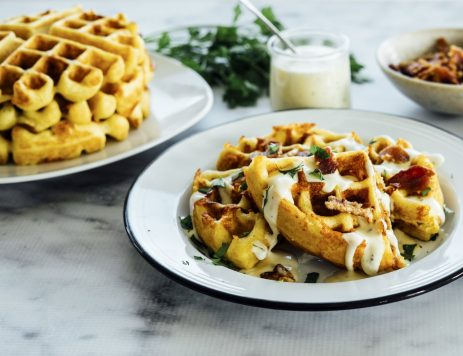 Cheddar Cornbread Waffles with Buttermilk Ranch and Bacon
