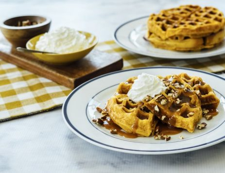 Pumpkin Caramel Spice Waffles with Caramel Maple Syrup